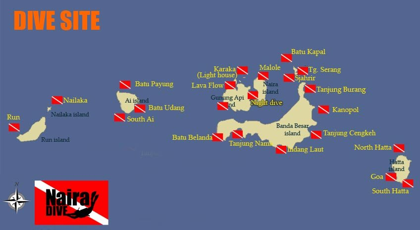 Banda dive map