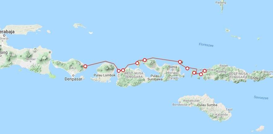 Map Bali-Komodo-Flores