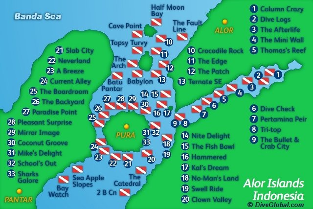 Alor dive map
