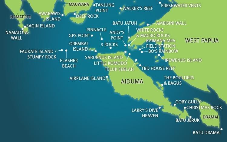 Triton Bay dive map