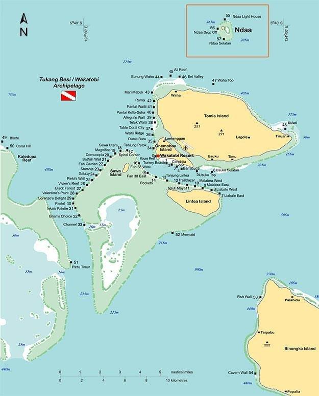 Wakatobi - Tomia dive map